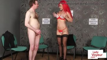 Redhead voyeur instructs guy to jerk off