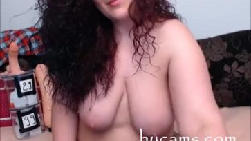 Busty bbw with hairy pussy on webcam
